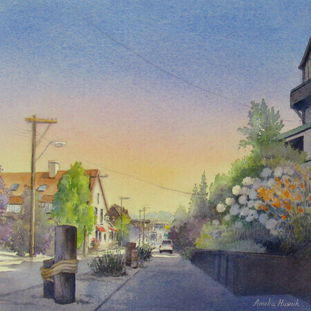 Main Street, Port Stanley - Watercolour - 13x13
